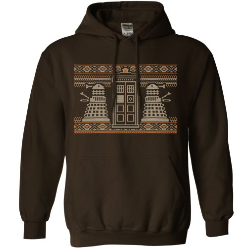 Mens Knitted Jumper Style Hoodie – Dr Who – Dark Chocolate – XX-Large