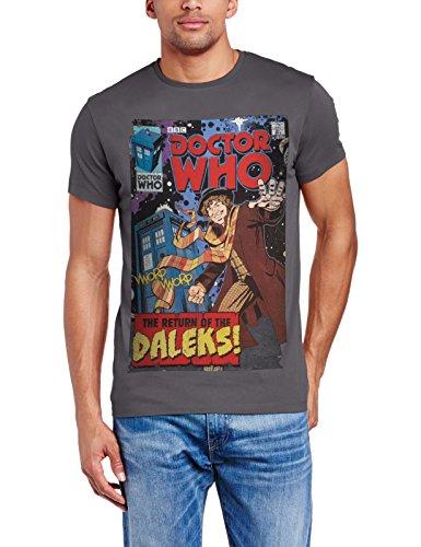 Doctor Who Men's Comic Cover Baker 14 Regular Fit Round Collar Short Sleeve T-Shirt, Grey (Charcoal), Small