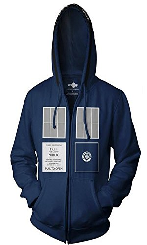 Doctor Who TARDIS Adult Navy Zip-Up Sweatshirt Hoodie (Adult XX-Large)