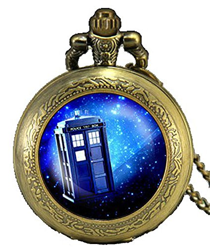 Doctor Who – The Tardis Antique Bronze Engraved Quartz Pocket Watch/Necklace Watch