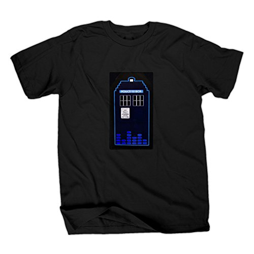 Doctor Who Tardis Sound Activated LED Mens Black T-Shirt   XL