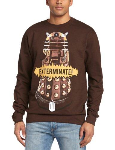 Doctor Who Men's Gold Dalek Crew Neck Long Sleeve Sweatshirt, Brown, Large