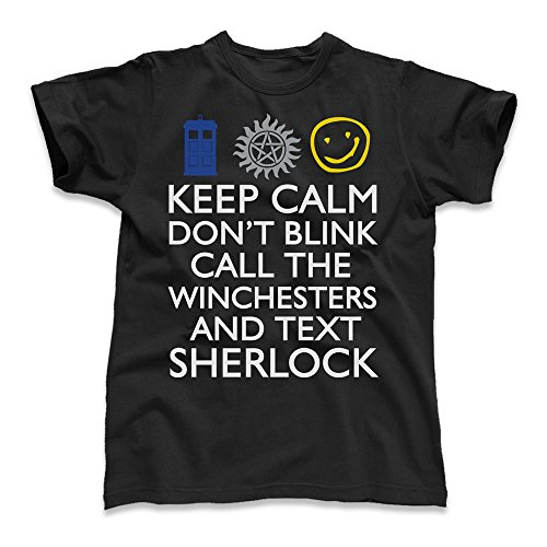 Keep Calm Don't Blink Call the Winchesters and Text Sherlock, Kid's T-Shirt, Black, Medium