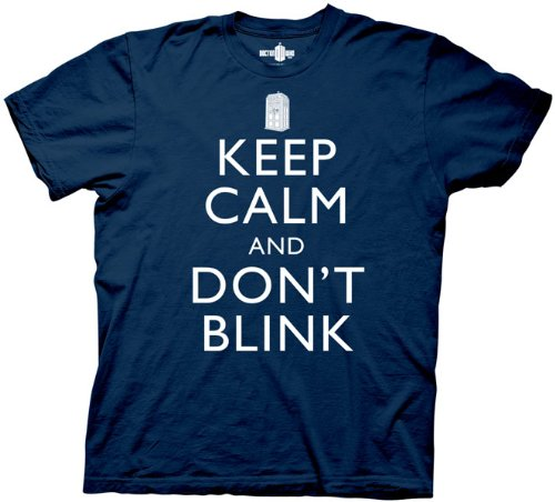 Doctor Who Keep Calm And Don't Blink T-shirt (L, Navy Blue)