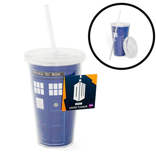 Doctor Who Tumbler Cup – Dr Who TARDIS Insulated Travel Coffee Mug with Lid and Straw – 16 oz