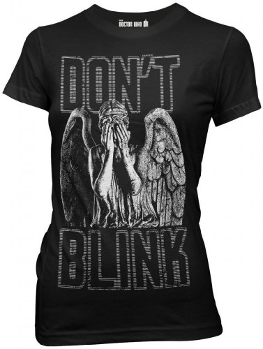 Doctor Who Don't Blink Weeping Angel Juniors Black T-shirt L