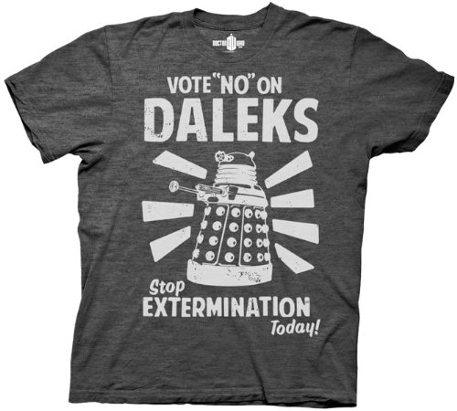 DR. WHO VOTE NO ON DALEKS MENS TEE CHARCOAL HEATHER (Medium)