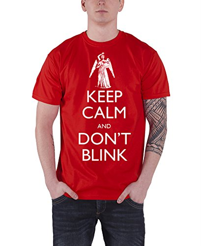 Doctor Who Keep Calm Dont Blink angel Official Mens Red T Shirt
