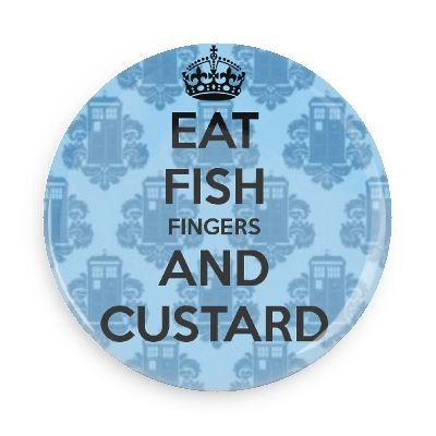 Doctor Who Fish Fingers and Custard 1.5 Inch Pin Back Button