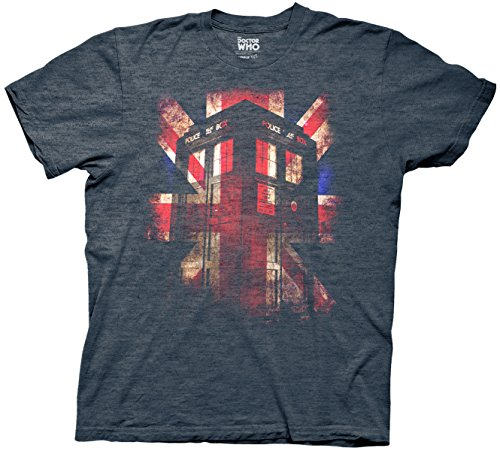 Doctor Who Tardis Union Jack Mens Heather Navy T-shirt L