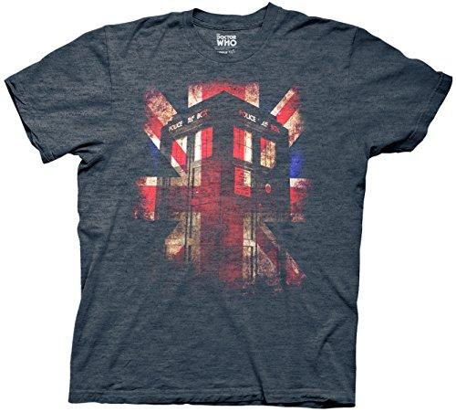 Doctor Who Tardis Union Jack Mens Heather Navy T-shirt L