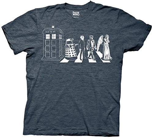 Doctor Dr Who Detailed Street Crossing Mens Heather Navy T-shirt M