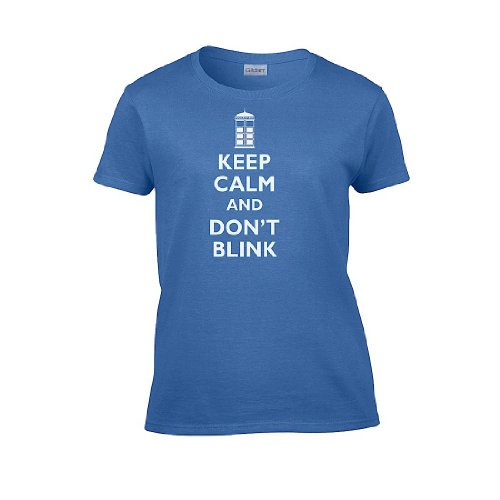 IamTee Womens Keep Calm and Don't Blink T-Shirt-Blue-M