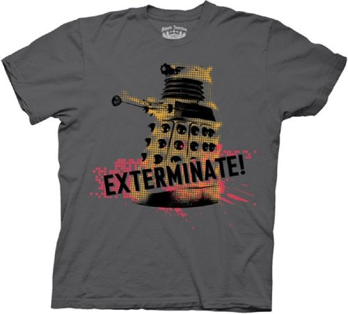 Dr. Doctor Who Dalek Exterminate Splatter Men's Charcoal Tee Medium