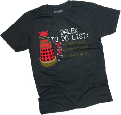 Dalek To Do List — Exterminate — Doctor Who T-Shirt, XX-Large