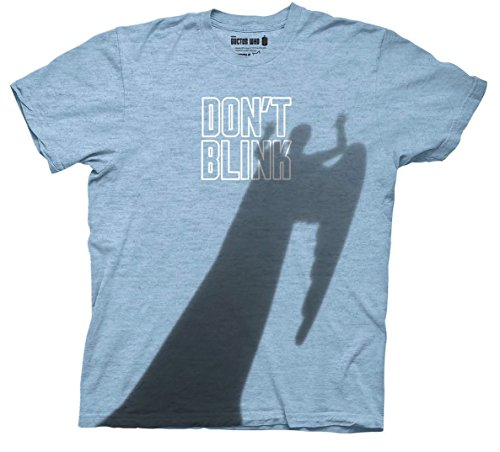Doctor Who Don't Blink Weeping Angel Shaddow Shirt (Medium, Heather Light Blue)