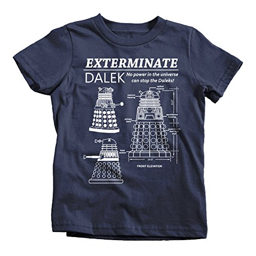 Dalek Exterminate Blueprint Kids T-Shirt Tee Dr Time Doctor Lord Who Tardis Box