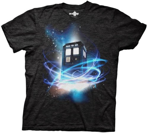 Doctor Who Tardis in Space Tri-blend Black Men's T-shirt M