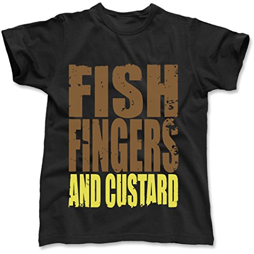 Fish Fingers & Custard Dr Who, Men's T-Shirt, Black, XX-Large