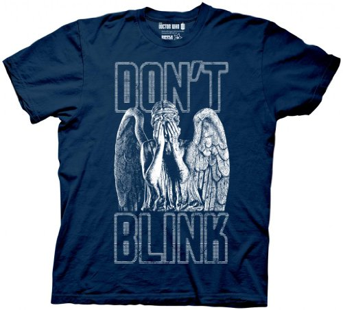 Doctor Who Don't Blink Weeping Angel Covering Face Men's Navy Blue T-shirt 3XL
