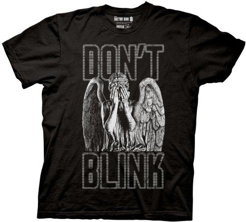 Doctor Who Blink Weeping Angel Covering Eyes T-shirt (Small, Black)