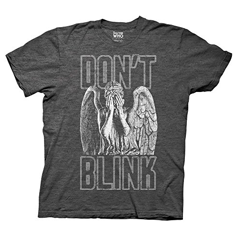 Doctor Who Blink Weeping Angel Covering Eyes T-shirt (Large, Heathered Charcoal)