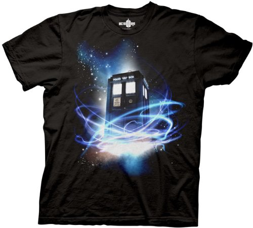 Doctor Who Tardis in Space Men's T-Shirt, Black, small