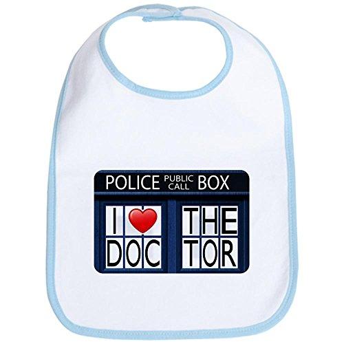 Royal Lion Baby Bib Police Call Box I Love Doctor Who – Sky Blue