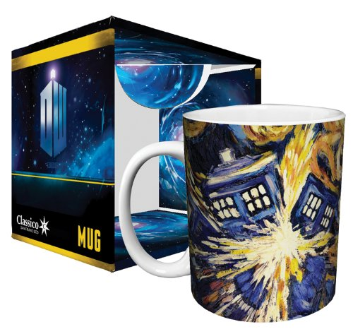 Doctor Who Exploding Tardis TV Show (Van Gogh's Exploding Tardis) Ceramic Boxed Gift Coffee (Tea, Cocoa) 11 Oz. Mug