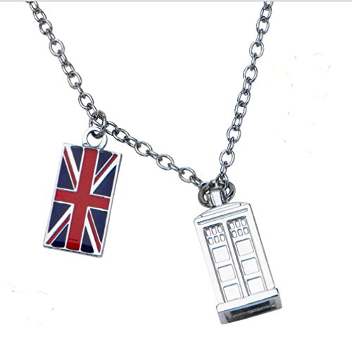 Doctor Who Union Jack Phone Booth TARDIS Pendant Necklace