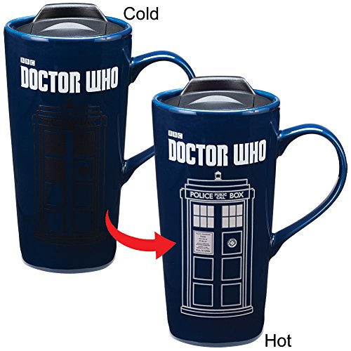 Doctor Who TARDIS Time Machine Heat Reactive 20-oz Ceramic Travel Mug w/ Lid