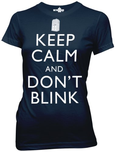 Dr. Who Keep Calm and Dont Blink Juniors Navy Tee L