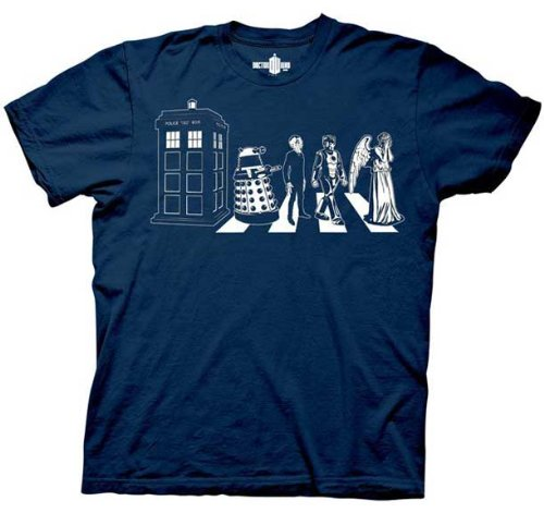 Doctor Dr. Who Detailed Street Crossing Adult Navy T-Shirt, XX-Large