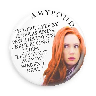 Doctor Who Companion Amy Pond Biting 1.5 Inch Pin Back Button