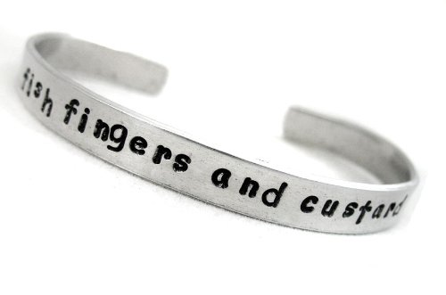 Hand Stamped Doctor Who Bracelet – Fish Fingers and Custard