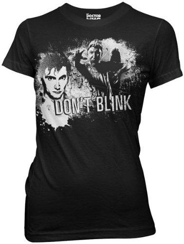 Doctor Who Tenth Doctor Don't Blink Juniors T-shirt (Medium, Black)