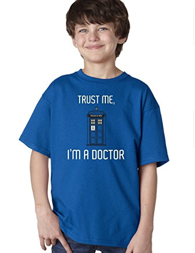 TRUST ME I'M A DOCTOR WHO Youth Unisex T-shirt / TARDIS Sci Fi Fan Tee, Blue, Medium