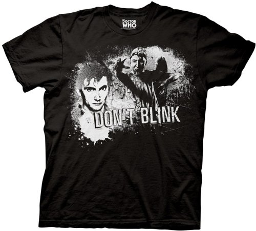 Doctor Who Tenth Doctor Don't Blink T-shirt (Large, Black)
