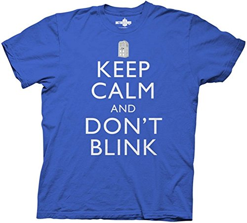 Doctor Who Keep Calm and Don't Blink T-Shirt Blue Large