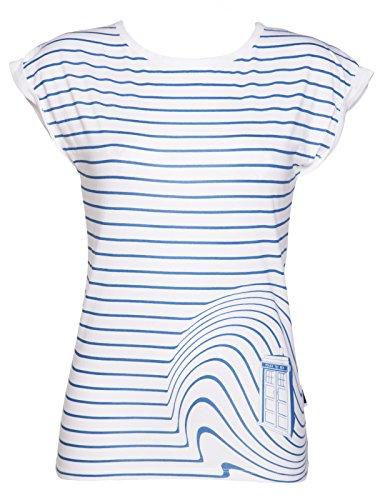 Ladies TARDIS Swirl Doctor Who T Shirt from BBC Worldwide, White/Off White (Large)