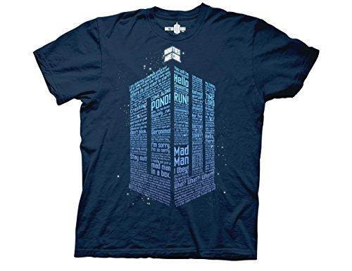 Ripple Junction Doctor Who Logo of Words Adult T-Shirt Medium Navy