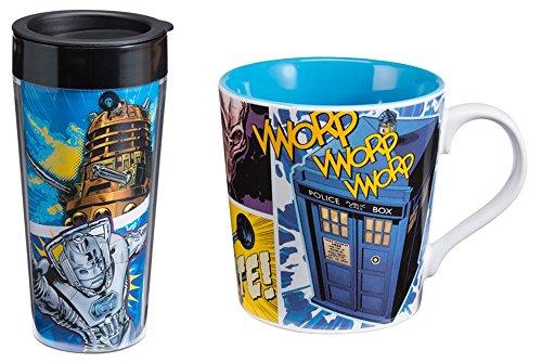 BBC Doctor Who 16oz Plastic Travel Mug and 12oz Ceramic Coffee Mug Bundle
