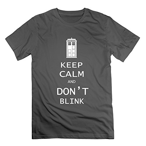 HTAD Men's Doctor Who-Keep Calm And Don't Blink T Shirt DeepHeather Size XL