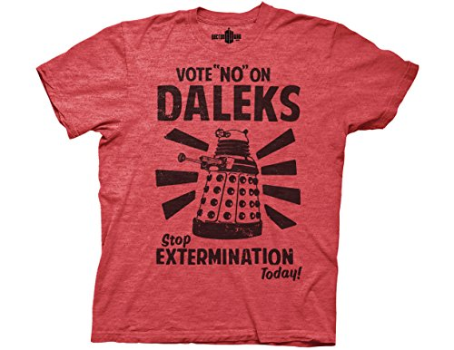 DR. WHO — VOTE NO ON DALEKS — MENS TEE (Red Heather, XL)