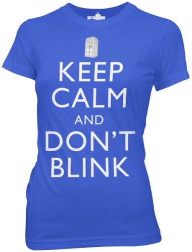 Doctor Who Juniors Keep Calm and Don't Blink T-Shirt, Royal Blue, Medium