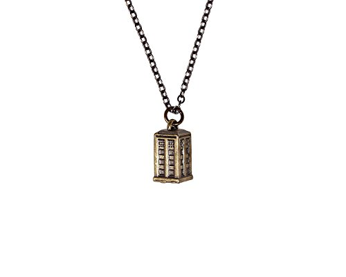 Doctor Who Tardis Burnished Gold Charm Necklace