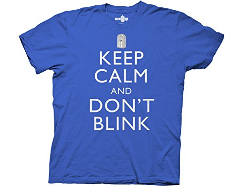 Ripple Junction Doctor Who Keep Calm and Don't Blink Adult T-Shirt Medium Royal