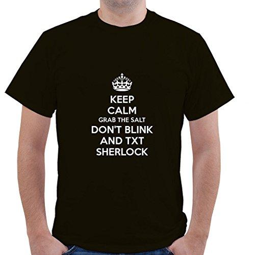 KEEP CALM GRAB THE SALT DON'T BLINK AND TXT SHERLOCK Unisex Short Sleeve T Shirt