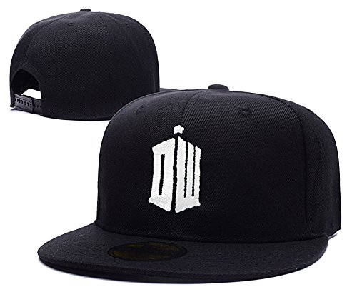 Doctor Who Tardis Logo Adjustable Snapback Caps Embroidery Hats – Black/White