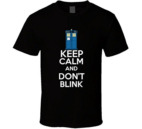 TshirtSavage Men's Keep Calm And Don'T Blink T-Shirt M Black